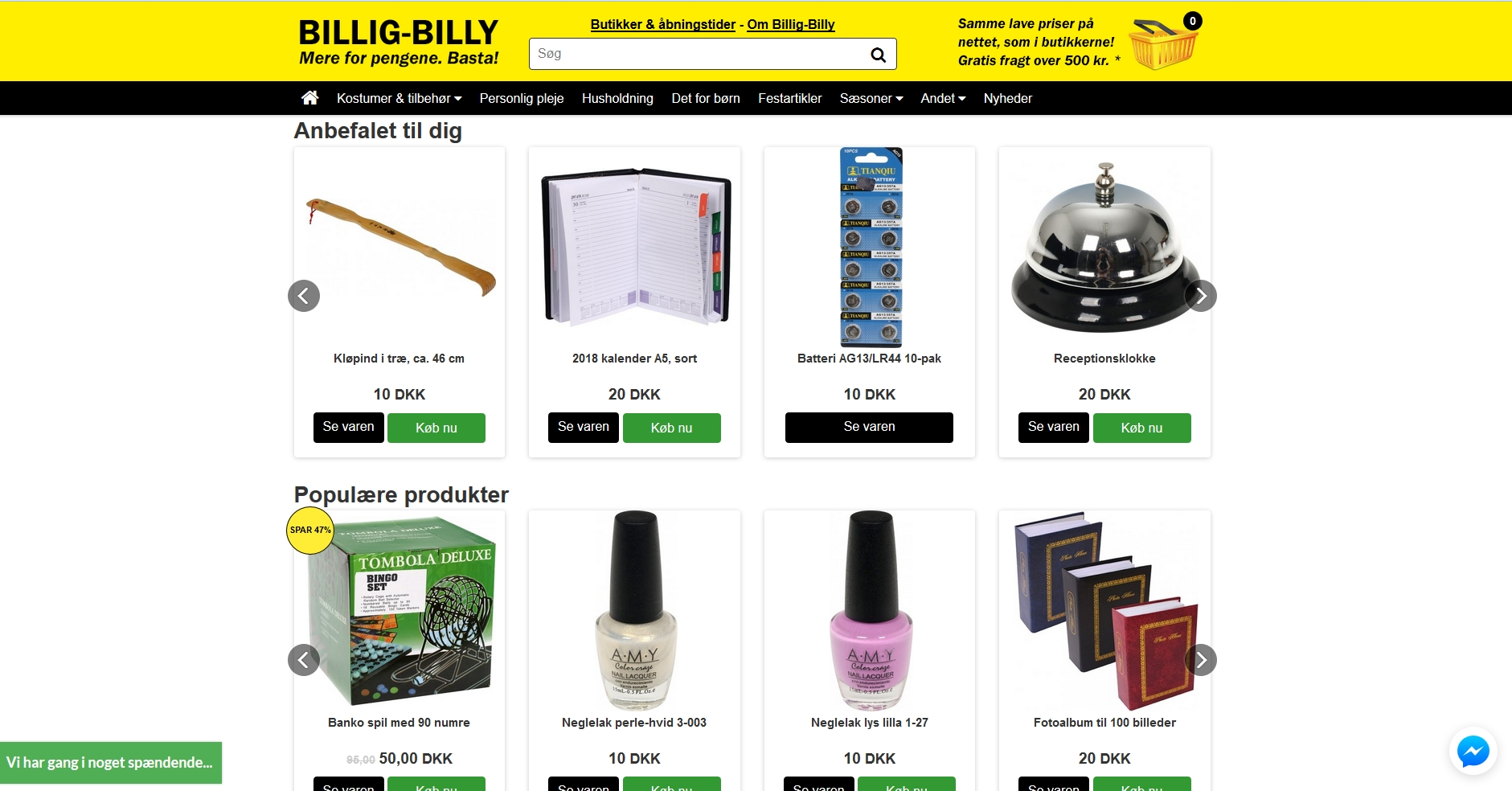 Detaljer : Billig-Billy. Kostumer og 10 krs marked